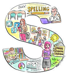 S is for school visits; serendipity; sharing; skills; social media; Sshh! (a quiet place to work/study); storytime; students; study; summer reading challenge.