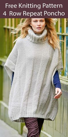 "Free Poncho Knitting Pattern 4 Row Repeat Poncho - Poncho with a ribbed turtleneck collar, open sides that are seamed to form sleeves, and a 4 row repeat textured stripe. Knit flat. Sizes: 32-42 (40-50)"" 81-107 (102-127) cm. Aran weight yarn. Designed by Martin Storey."