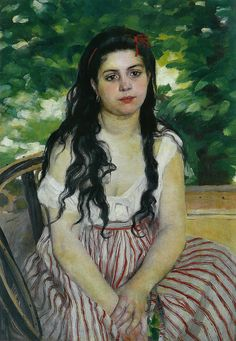 In summer (The Gypsy) via Pierre-Auguste Renoir Size: 85x59 cm Medium: oil on canvas