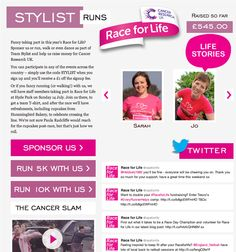 The Stylist Race for Life microsite let visitors read about the motivations of those taking part, learn the Cancer Slam and contained links to the appropriate fundraising pages for the team.