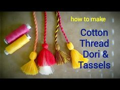 Cotton Thread Twisted Dori and Tassels For Blouse Kurti Hand Embroidery Patterns Flowers, Hand Embroidery Designs, Gala Design, Couture Sewing Techniques, Saree Tassels, Drawing Tutorials For Beginners, Fabric Paint Designs, How To Make Tassels, Cd Crafts