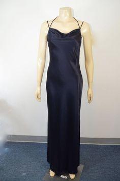 Tahari Women's Designer Navy Blue Long Sleeve Less Long Dress Size 8 on sale #Tahari #EveningDress #AllOccasion