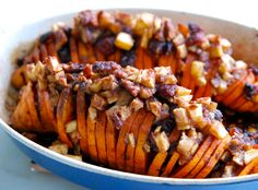 Sweet Potatoes stuffed with Apples, Cranberries, and Pecans.