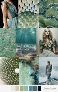MERMAID GROTTO Greens, greys and blues color pallet mood board inspiration Colour Pallette, Colour Schemes, Color Trends, Color Patterns, Color Combinations, Mood Colors, Color Theory, Pantone Color, Color Inspiration