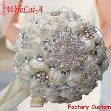 Best Selling Ivory Cream Brooch Bouquet Wedding Bouquet de mariage Polyester Wedding Bouquets Pearl Flowers buque de noiva PL001(China)