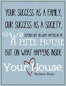 printable quote - barbara bush on families