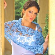 Light Blue Stole free crochet graph pattern