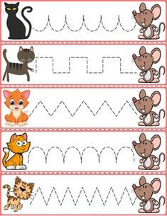 """Trace The Pattern: Cats & Rats Cards. Help your child develop their pre-writing and fine motor skills with """"Trace the Pattern"""" printable cards. Print these out, cut them up, and then laminate for use with Expo markers and pens. Preschool Activity Sheets, Preschool Writing, Preschool Printables, Preschool Worksheets, Preschool Activities, Farm Animals Preschool, Fall Preschool, Educational Activities For Kids, Kids Learning"""