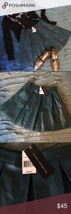 French connection teal PU pleated skirt Beautiful teal leather pleated skirt from French Connection! Selling because this little beauty was stuck in the closet and I felt sorry for it. Never worn. Tag still on. Size 4. French Connection Skirts Mini