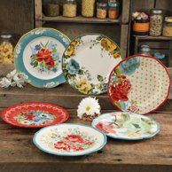 The Pioneer Woman Collected Salad Plate Set, Multi-Color The Pioneer Woman, Pioneer Woman Dishes, Pioneer Woman Kitchen, Pioneer Women, Dinner Plate Sets, Dinner Plates, Dinner Sets, Pioneer Woman Dinnerware, Spring Bouquet
