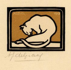 Cat, by Julie De Graag (1877-1924) - woodcut 1918