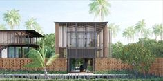 the living room pavilion floats on top of the laterite masonry wall  Waikiki Waterscape Resort, Vengurla - Architecture BRIO, India  #tropicalarchitecture #contemporary #laterite #goa #TimberScreens