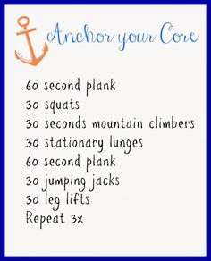 Anchor your Core Workout