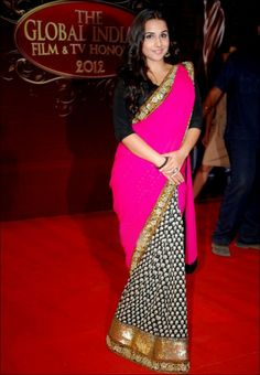 #Vidya #Balan Style Pink #Bollywood #Saree At Balaji Awards