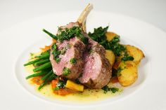 Mains- roasted rack of lamb with summer vegetables and mint sauce? Kalm Kitchen