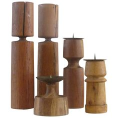 American Studio Craftsmen Modernist Wood Candlesticks | From a unique collection of antique and modern candleholders and candelabra at https://www.1stdibs.com/furniture/lighting/candleholders-candelabra/
