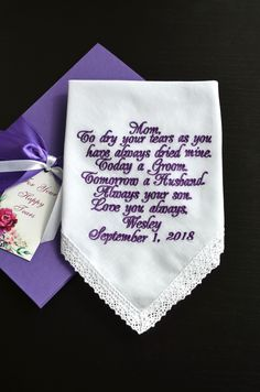 Mother of the groom gift from son Wedding handkerchief mom from son Thank you gift Purple Wedding gift for Parents Personalized hankerchief #etsy #weddings #purple #motherofthegroom #groomgift #giftfromson #weddinghandkerchief #momfromson #thankyougift https://etsy.me/2Fea9BY