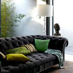 Chesterfield Soft in grey velvet is tastefully accented with an outstanding Pillow Pile...GREEN makes it Pop!