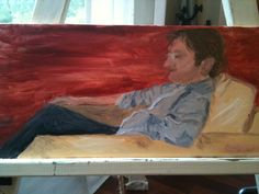 Tim in chair.  Oil on canvas 45x20cm.