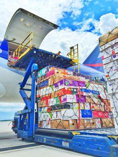 LAN Cargo B777 freighter loading cargo