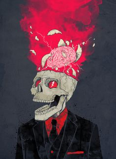 BrainStorm, Exploding Skull, illustration.