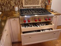 Pots & pans and utensils drawer under cooktop. - contemporary - kitchen - atlanta - Pittam Associates, Inc.