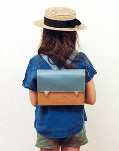 wooden kids backpack blue