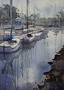 "Keiko Tanabe Fine Art, California Landscapes: San Diego 100 Series, ""Oceanside Harbor""."