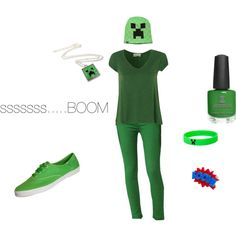 """Minecraft Outfit #3- Creeper"" by yodeyo on Polyvore"