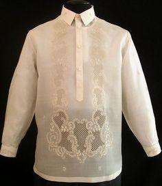 Piña-Jusi Barong Tagalog - Barongs R us Barong Tagalog Wedding, Barong Wedding, Wedding Attire, Wedding Dresses, Filipino Wedding, Filipiniana Dress, Tropical Fashion, Line Shopping, Formal Shirts