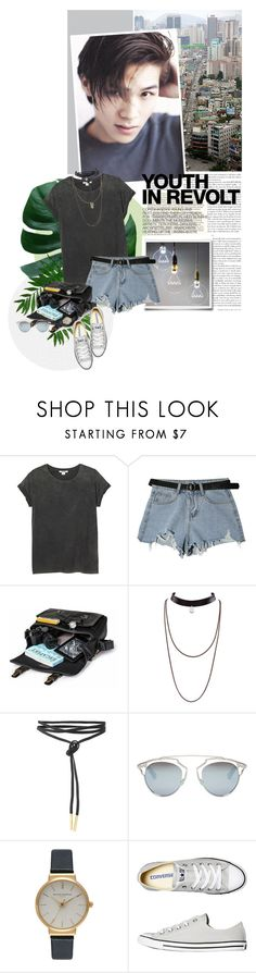 """Long time no see!"" by tortor1994 ❤ liked on Polyvore featuring Hedi Slimane, Monki, StyleNanda, Christian Dior, Olivia Burton and Converse"