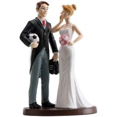 Soccer Player Groom And Exasperated Bride Cake Topper