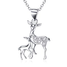 Shiny Mom And Kids Deer Pendant 925 Sterling Silver Cz Lovely Sika Deer Necklace
