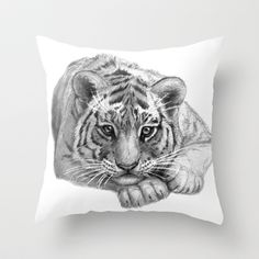 Tiger Cub SK119 Throw Pillow by S-Schukina - $20.00