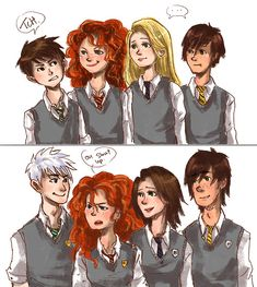 hogwarts au the big four hiccup and merida - Google Search