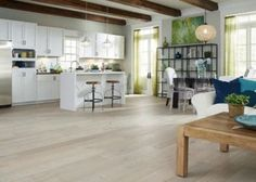 "1/2"" x 7-1/2"" Delaware Driftwood Oak..I've seen this hardwood flooring with aqua colored walls and it looked really nice; may be an option for my sun room and kitchen (well, maybe..)"
