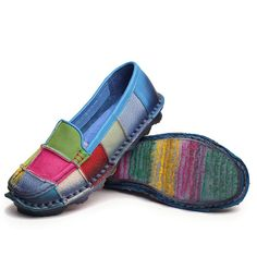 $51.85 Rainbow Plaid Multi-Color Soft Sole Leather Flat Loafers For Women
