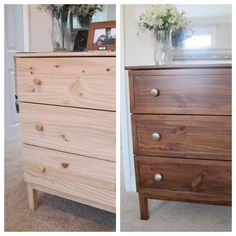 ikea tarva makeover with gel stain