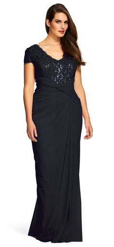 4b3ede0e4af Tadashi Shoji Corded Embroidery on Tulle Boatneck Gown - PLUS SIZE. See  More. Short Sleeve Lace and Tulle Gown - Adrianna Papell