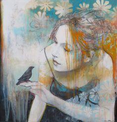Joan Dumouchel - Artiste peintre - Galerie Blanche - personnages - cirque - circus - jeune fille - femme - women - mix media - girl -