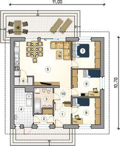 Rzut parteru - projekt Remik Max Little House Plans, Apartment Floor Plans, Plan Design, Atrium, Tiny House, Flooring, How To Plan, House With Garage, Ideas
