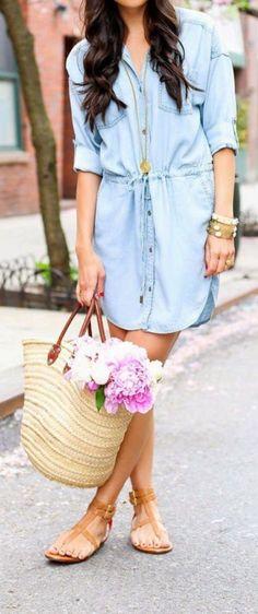 Stitch fix spring summer fashion trends 2016. Light wash denim dress. Oversized rattan tote. Nude sandals. So cute!