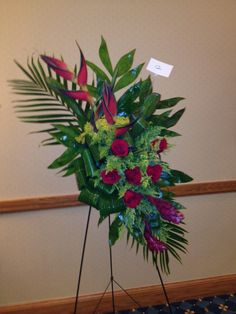 Tropical Funeral Flower Arrangement