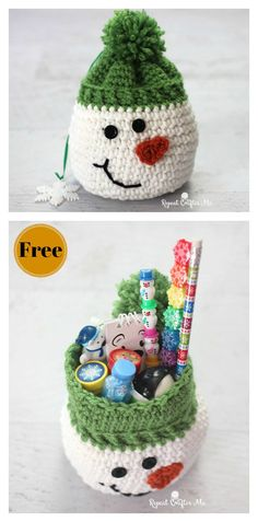 Christmas Snowman Gift Sack Free Crochet Pattern Instead of buying a boring paper gift bag, you can crochet the Christmas Gift Sack Bag. The Christmas Gift Sack Bag Free Crochet Pattern is quick and easy to work up. Crochet Christmas Ornaments, Holiday Crochet, Christmas Knitting, Christmas Snowman, Crochet Snowflakes, Christmas Angels, Free Christmas Crochet Patterns, Xmas, Santa Ornaments