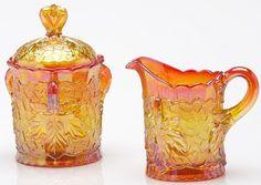Creamer & Sugar Set - Maple Leaf Pattern Mosser Glass - Marigold Carnival