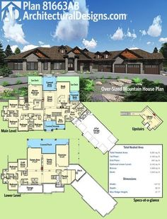 Architectural Designs Mountain Craftsman House Plan 81663AB gives you 5 beds on the main floor and 2 more in the optional finished lower level. Plus, there is buildable space over the garage! Ready when you are. Where do YOU want to build?