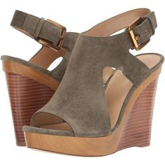 f90d1bb0a4fe MICHAEL Michael Kors Josephine Wedge (Olive) Women s Shoes ( 70) ❤ liked on  Polyvore featuring shoes