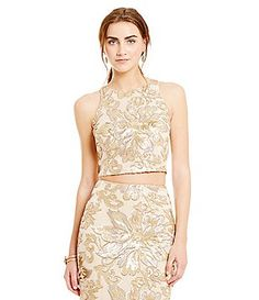 549f08662cc Belle Badgley Mischka Floral Sequin Margot Crop Top Badgley Mischka