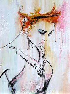 "SOLD Figurative Art Original Contemporary Fashion by lanasfineart, Lana Moes fashion paintings, ""La Vie En Rose"""