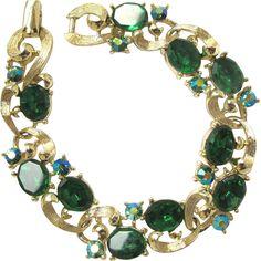 New Listing - Vintage Lisner Green Rhinestone Bracelet